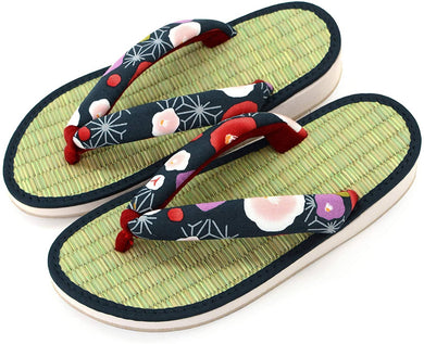 TAKEHARU Women's Traditional Japanese Tatami Setta Sandals – Tsubaki Navy Pattern (32)