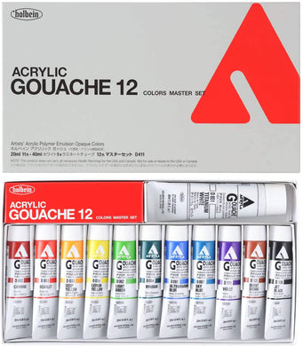 Holbein Acrylic (Acryla) Gouache 12 Color Master Set - 20ml Tubes - D411 20ml (No. 6) 007411