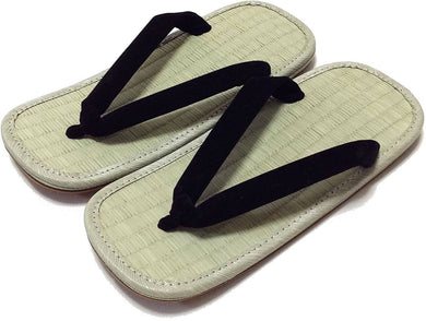 EDO-TEN Men's Premium Traditional Japanese Tatami Zori Sandals – Black Hanao (Thongs)