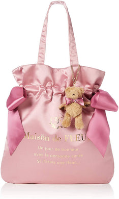 Maison de Fleur Double Ribbon Tote Bag with Bear Charm - Pink 8A94F0J1700