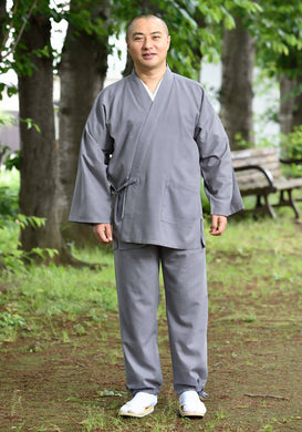 Japanese Zen Buddhist Monk Men's Work Clothing – Slab Samue – Authentic and Used in Japanese Temples – Spring/Summer Fabric Thickness – Gray