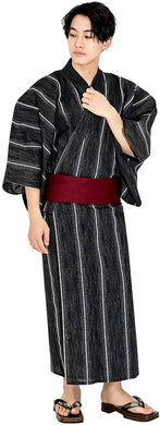 KYOETSU Men's Yukata 4-Piece Set – Yukata, Square Belt, Geta, Waistband – Stripe & Black Pattern with Wine Color Obi C-04