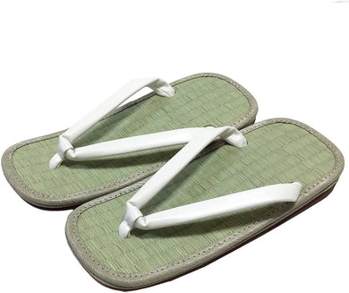 EDO-TEN Men's Premium Traditional Japanese Tatami Zori Sandals – White Hanao (Thongs)