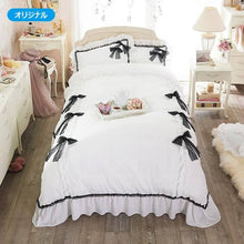 Load image into Gallery viewer, Romantic Princess (Romapri) Black Ribbon Comforter Cover – Single Bed Size