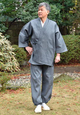 Japanese Zen Buddhist Monk Men's Work Clothing – Enshu Shijira Samue – Authentic and Used in Japanese Temples – Spring/Summer Fabric Thickness – Ash Color