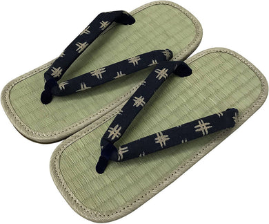 EDO-TEN Men's Premium Traditional Japanese Tatami Zori Sandals – Black Well Hanao (Thongs)