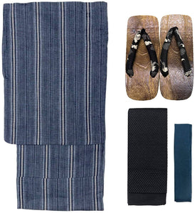 KYOETSU Men's Yukata 4-Piece Set – Yukata, Square Belt, Geta, Waistband – Stripe & Dark Blue Pattern with Black Obi C-05