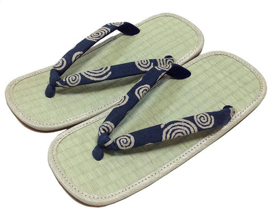 EDO-TEN Men's Premium Traditional Japanese Tatami Zori Sandals – Whirlpool Hanao (Thongs)