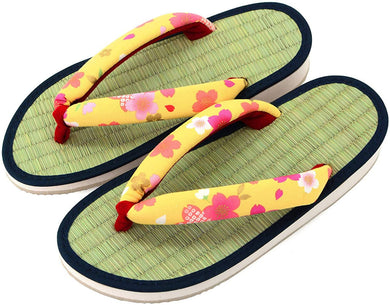 TAKEHARU Women's Traditional Japanese Tatami Setta Sandals – Yellow Cherry Tree Pattern (34)