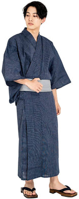 KYOETSU Men's Japanese Yukata 4-Piece Set – Yukata, Square Belt, Geta, Waistband – Fine Stripes & Navy with Gray Obi C-2