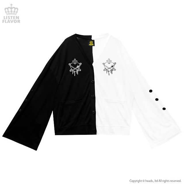 LISTEN FLAVOR Planet of the Heart Bell Sleeve Short Cardigan – One Size – Black & White