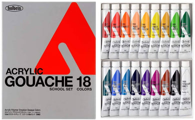 Holbein Acrylic (Acryla) Gouache School 18 Color Set - 12ml Tubes - 7982