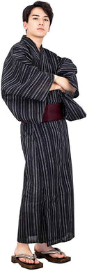 KYOETSU Men's Japanese Yukata 4-Piece Set – Yukata, Square Belt, Geta, Waistband – Striped Yukata with Purple Obi C-19