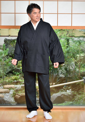 Japanese Zen Buddhist Monk Men's Work Clothing – Slab Samue – Authentic and Used in Japanese Temples – Spring/Summer Fabric Thickness – Black