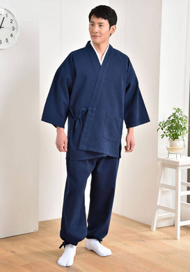 Japanese Zen Buddhist Monk Men's Work Clothing – Samue – Authentic and Used in Japanese Temples – Autumn/Winter Fabric Thickness – Navy Blue