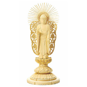 Cypress Wood Japanese Buddha Statue – Shiraki Maru Round Pedestal – Jodo Shinshu Pure Land School – 18.7 cm Height