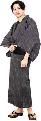 KYOETSU Men's Japanese Yukata 4-Piece Set – Yukata, Square Belt, Geta, Waistband – Fine Stripes with Black Obi C-12