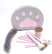 Load image into Gallery viewer, Kawaii Cat Makeup Pouch and Brush Set – 12 Piece Set