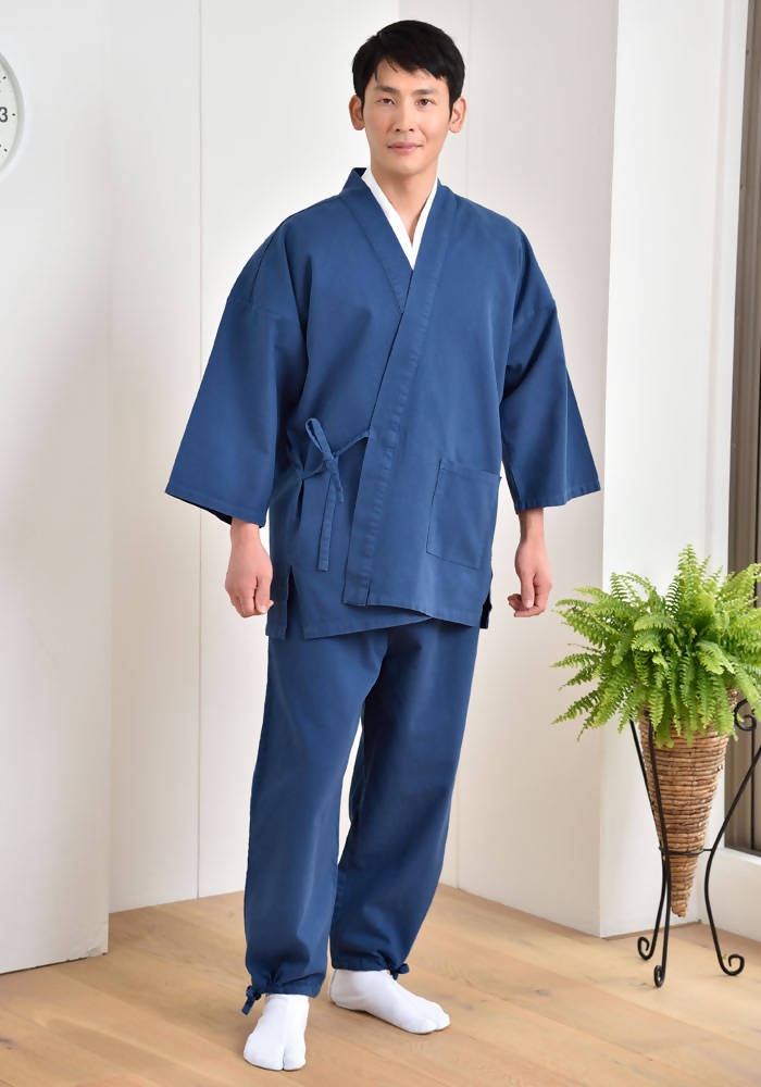 Japanese Zen Buddhist Monk Men's Work Clothing – Samue – Authentic and Used in Japanese Temples – Autumn/Winter Fabric Thickness – Light Navy Blue