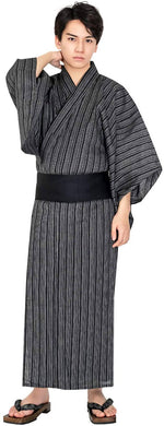 KYOETSU Men's Yukata 4-Piece Set – Yukata, Square Belt, Geta, Waistband – Waterfall Stripe Pattern with Black Obi C-15
