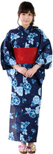 Load image into Gallery viewer, KYOETSU Women's Japanese Yukata 3-Piece Set – Yukata, Obi & Geta Clogs – Morning Glory Blue Pattern with Red Obi 06