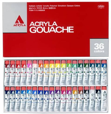 Holbein Acrylic (Acryla) Gouache 36 Color Set - 20ml Tubes - D418 (No. 6) 007418