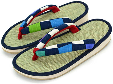 TAKEHARU Women's Traditional Japanese Tatami Setta Sandals – Colorful Checkered Navy (9)