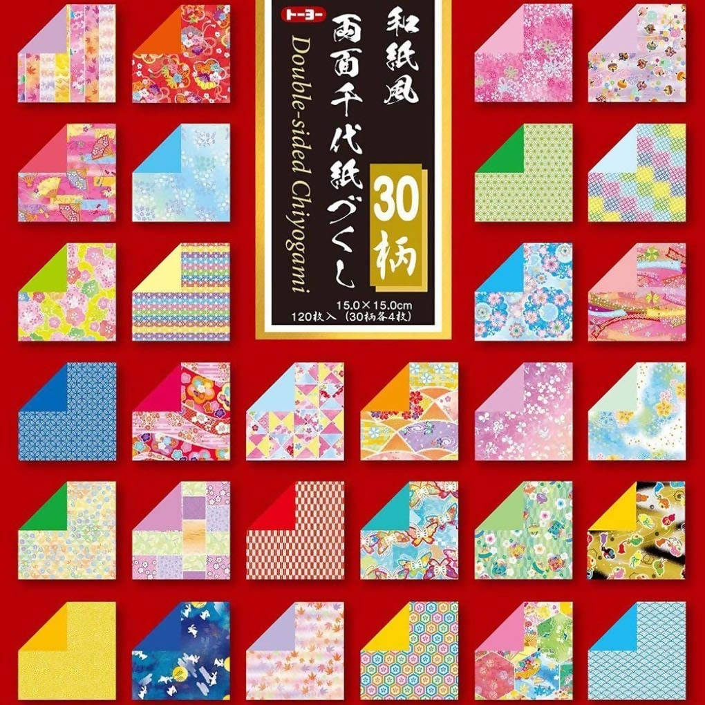 TOYO Chiyogami Origami Paper 018060 – 15cm Square Size – 30 Colorful Traditional Patterns – 120 Sheets