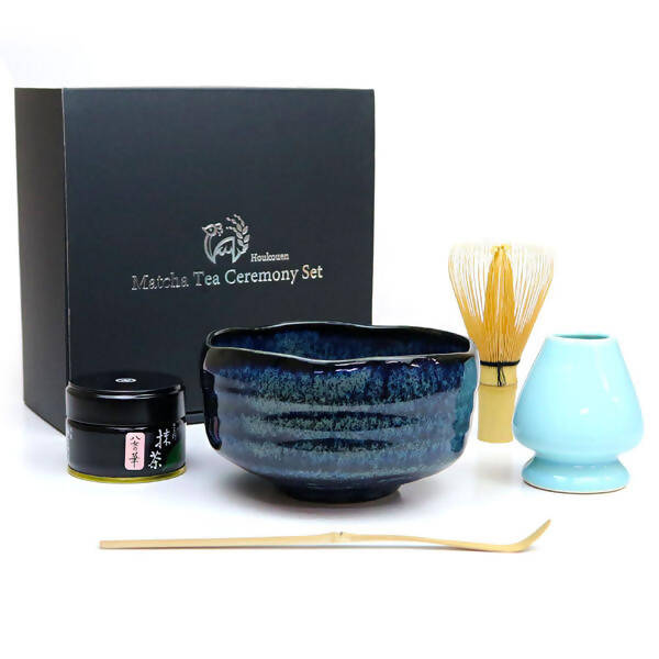Houkouen Matcha Tea Ceremony 6-Piece Set – Blue Glazed Chawan (Tea Bowl)