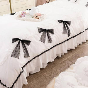 Romantic Princess (Romapri) Black Ribbon Comforter Cover – Single Bed Size