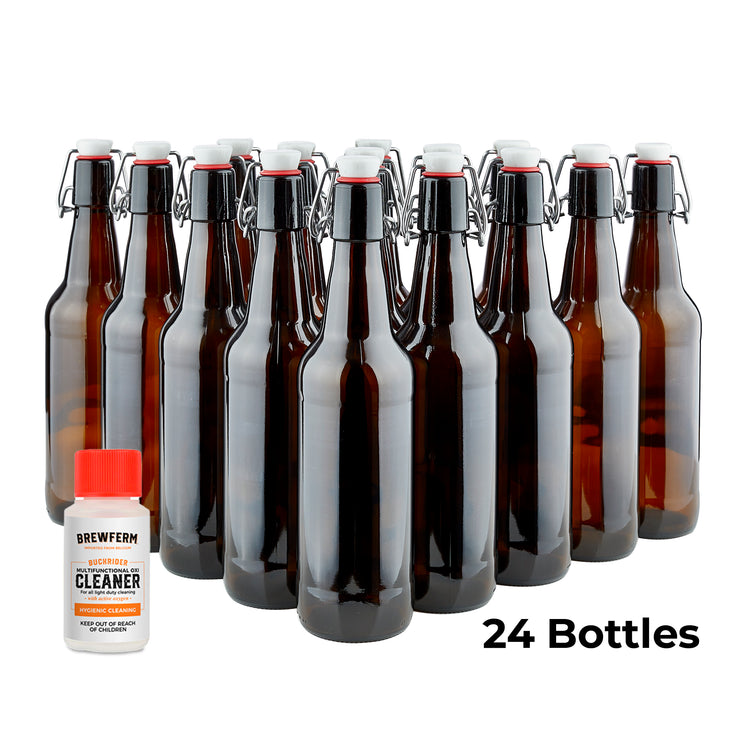 Fliptop Bottling Kit (17 oz) - Bottles, Fliptops, and Cleaning Agent