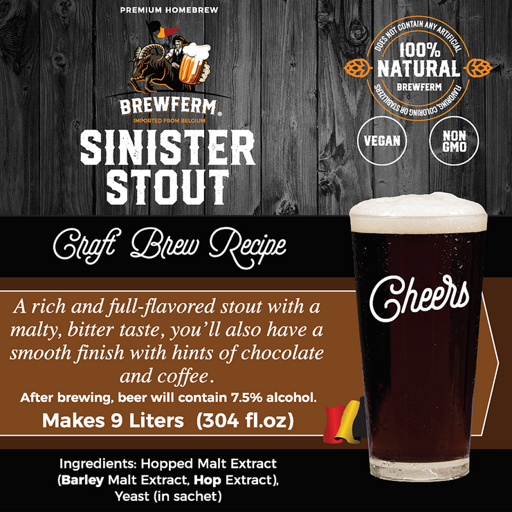 Sinister Stout - Homebrew Craft Beer Mix for 9 L / 2.5 gal