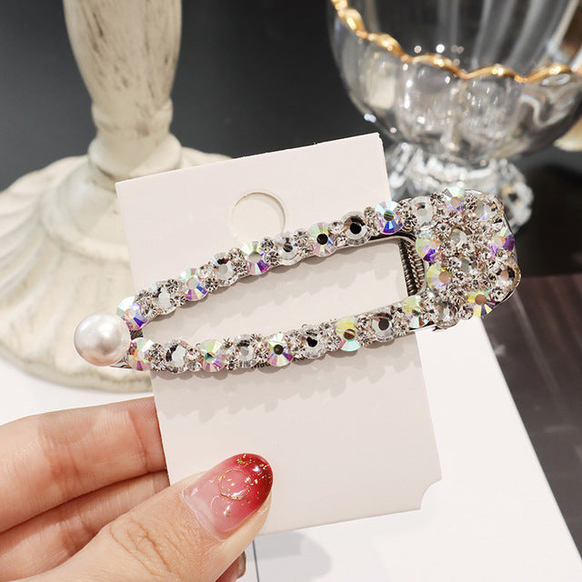2019 New Fashion Shiny  Rhinestone Crystal Pearl Hair Clip Hairpins
