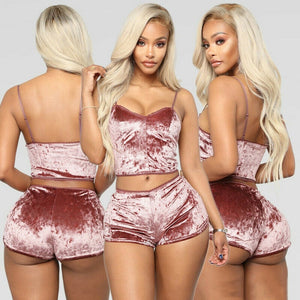 Fashion Women 2 pieces Velvet Sleepwear