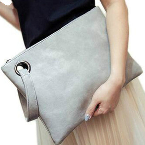 Solid Clutch Bag Leather Envelope Bag Zipper