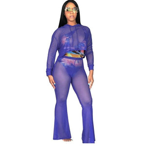 Crop Top With Full Pants Mesh See Through 2 Piece Set