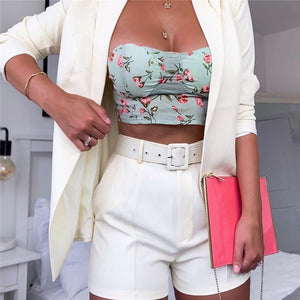 Blazer suit top shorts 2 two pieces set with belt