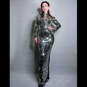 Luxury Full Silver Sequin Singer Dress Stage Performance Wear