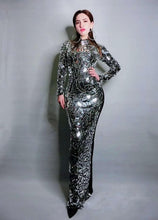 Load image into Gallery viewer, Luxury Full Silver Sequin Singer Dress Stage Performance Wear