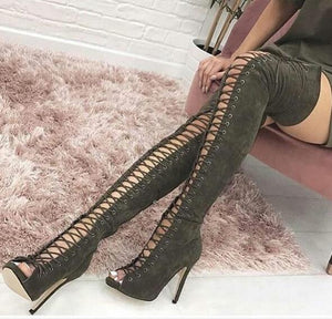 Moraima Snc Sexy Open Toe Lace-up Over the Knee Boots