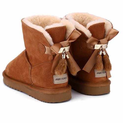 Fur Lined Ankle Snow Boots with Bowknots