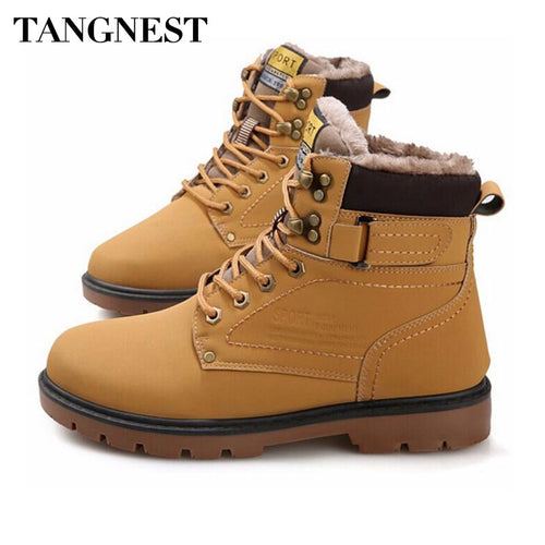 Tangnest Winter Fur Men Boots Casual Lace Up Safety Work Boots Autumn