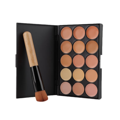 Professional Makeup tool set 15 Color Face Concealer Eyeshadow Palette + Wood Handle Flat Angled Brush kit Make up Set