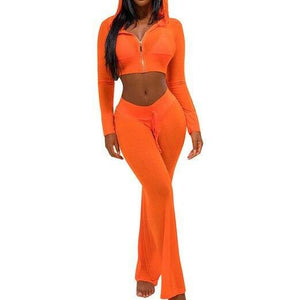 Hooded Crop Top and Pants Two Piece Set
