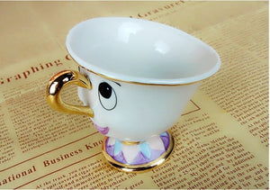 Cute Cartoon Beauty And The Beast Teapot Mug Mrs Potts Chip Cup Tea Pot Cup Set
