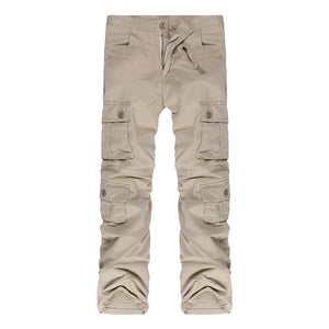 Men Military Long Cargo Overall Multi-pocket Pants