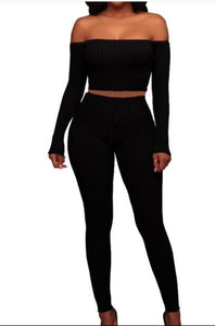 Women long sleeve crop top full pants 2  piece set S M L XL XXL