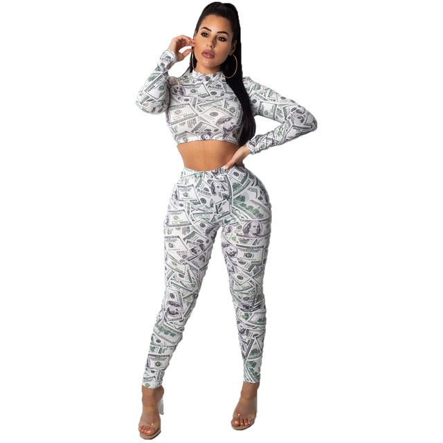 Dollar Print 2 Piece Set Sexy Long Sleeve O Neck Crop Top With Pants