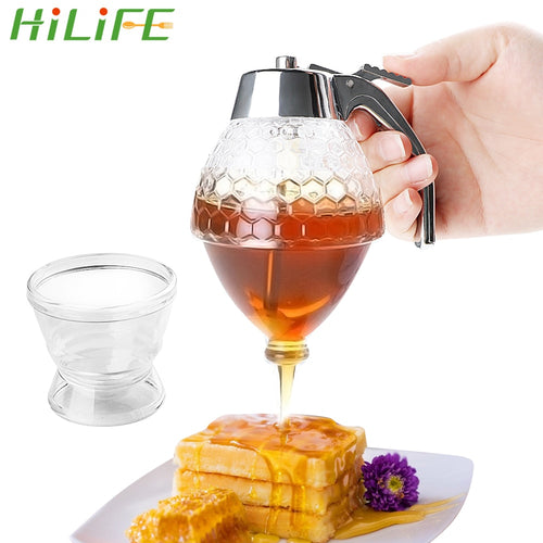 HILIFE Squeeze Bottle Honey Jar Container Bee Drip Dispenser Kettle Storage Pot Stand Holder Juice Syrup Cup