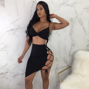 Sexy Bodycon Hollow Out Lace Up 2 Piece Set